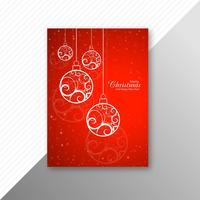 Mooie kleurrijke huw Kerstmis flyer sjabloonontwerp v vector