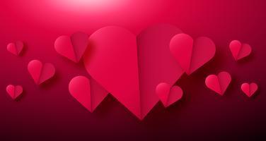 De achtergrond van de valentijnskaartendag met document origamiharten in de helft wordt verdeeld die.