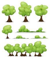 Cartoon bomen, hagen en Bush Leaves Set vector
