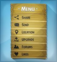UI-element en gegevenspictogrammen op houten paneel