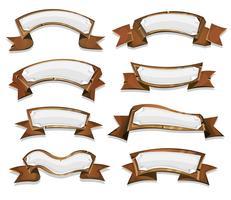Wood Banners en linten voor Game Ui vector