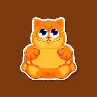 Leuke dikke kattensticker vector
