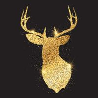 glittery gold deer head silhouette 1909 vector