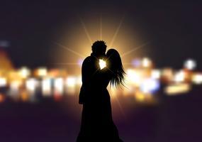 Silhouet van een verliefde paar op bokeh lichten achtergrond
