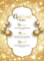 Kerstmisachtergrond met gouden hangende snuisterijen