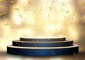 Podium met streamers en confetti vector