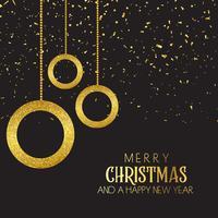 Kerstmisachtergrond met snuisterijen en confettien vector