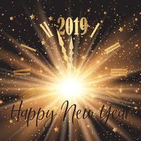 Gelukkige Nieuwjaarachtergrond met wijzerplaat en vuurwerkeffect