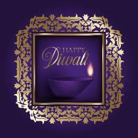 Gouden en paarse Diwali-achtergrond