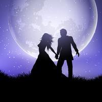 Silhouet van huwelijkspaar tegen een maanbeschenen hemel