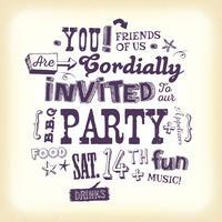 Vintage partij uitnodiging Poster met Hand belettering