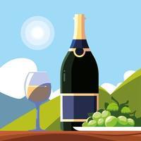 wijnfles met wijnglas, nationale wijndag vector