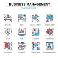 Platte lijn Management Icon Set