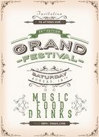 Vintage Festival Poster Achtergrond vector