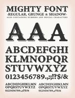 machtige western lettertype regular, shadow en grunge vector