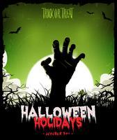 Halloween-achtergrond met Undead-Zombiehand vector