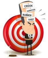 Banksterstraf met dartbord vector