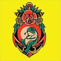 tatoeages van kikkers en bloemen vector