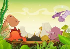 Prehistorisch landschap met dinosaurussen