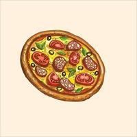 hele pizza slice houten vectorillustratie vector