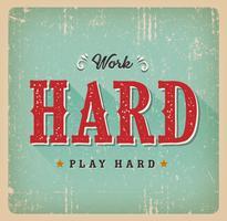 Werk hard Speel Hard Retro visitekaartje