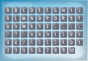 Alfabet lettertype ingesteld op stenen borden