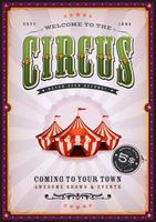 Vintage circusaffiche met zonnestralen
