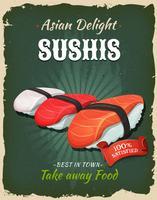 Retro Japanse Sushis-affiche