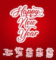 Gelukkig Nieuwjaar belettering kaart in meerdere talen vector