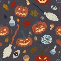 naadloos halloween-pompoenpatroon met hekserijattributen spinnen, heksenbezem, drankjes op een donkere achtergrond. ontwerp voor uitnodigingen, textiel, gedrukte producten, textiel. vector illustratie