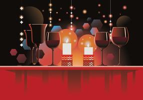 Romantische tabel instellen voor kerstfeest of nieuwjaarsviering thuis vector