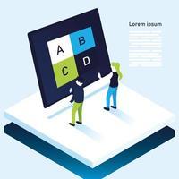 abcd boomkaart grafiek infographic in laptop vrouw en man vector design