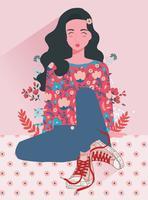 Meisje met bloemen Vol 3 Vector