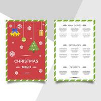 Platte kerstdiner menusjabloon Vector
