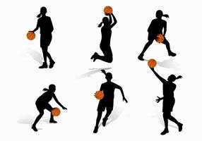 Vrouwelijk basketbalspeler silhouet