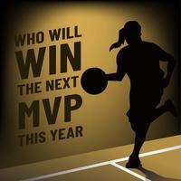MVP-bannersjabloon met het Vrouwelijke Silhouet van de Basketbalspeler