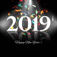 2019 Gelukkig Nieuwjaar tekst kleurrijke glanzende achtergrond vector