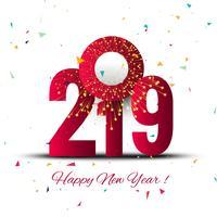 Elegant 2019 gelukkig nieuwjaar kleurrijk kaartontwerp