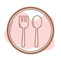 restaurant vork en lepel bestek teken pictogram lijn en vul vector