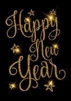 Gouden glittery Gelukkig Nieuwjaar ontwerp