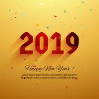 Mooie gelukkig Nieuwjaar 2019 tekstachtergrond vector