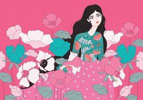 Meisje met bloemen Vector