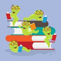 Bookworm karakter vectorillustratie