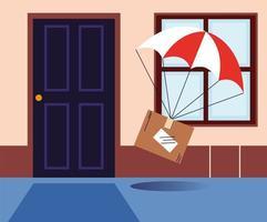 kartonnen doos met parachute levering aan de deur van het huis vector