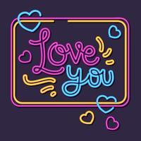 Valentijn neon stijl vector