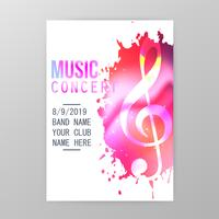 Muziek concert poster, verf splatter partij flyer sjabloon vectorillustratie