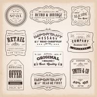 Vintage en ouderwetse etiketten en tekens vector