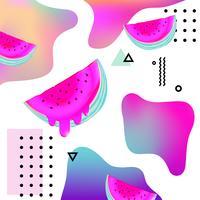 Vloeiende veelkleurige achtergrond met watermeloen vectorillustratie