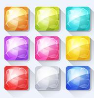 Edelstenen en Jewel pictogrammen en knoppen Set voor mobiele app en spel UI vector