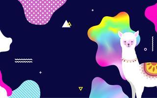Lama of alpaca kleurrijke achtergrond vectorillustratie